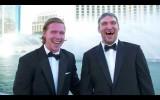 Video: Ovečkins un Bekstrēms filmējas pie Belladžio strūklakām