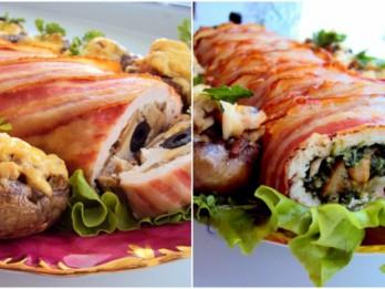 Ar sēnem un spinātiem pildītas vistas filejas