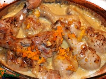 Pikantie vistu stilbiņi krējuma un apelsīnu mērcē