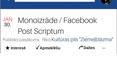 """Kultūras pils """"Ziemeļblāzma"""" Lielajā zālē Andra Buļa monoizrāde """"Facebook. Post Scriptum"""""""