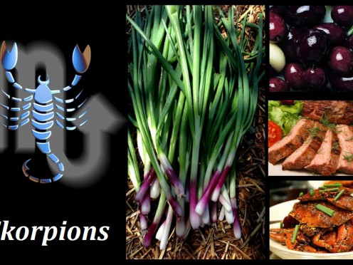 Skorpionu ēdienu izvēle,  galda kultūra un paradumi