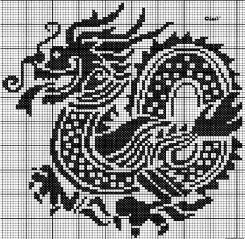 Вышивка крестом схема дракона