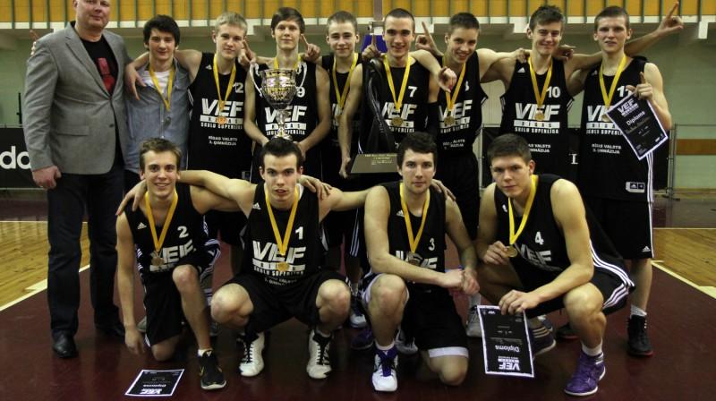 VEF RSSL čempioni - Rīgas Valsts 3. ģimnāzijas basketbolisti Foto: Renārs Buivids