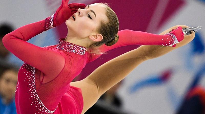Angelija Kučvaļska Universiādes garajā programmā. Foto: Sputnik/Scanpix