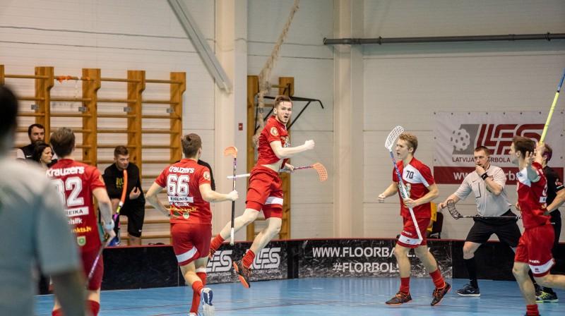 Talsu NSS/Krauzers prieki. Foto: floorball.lv