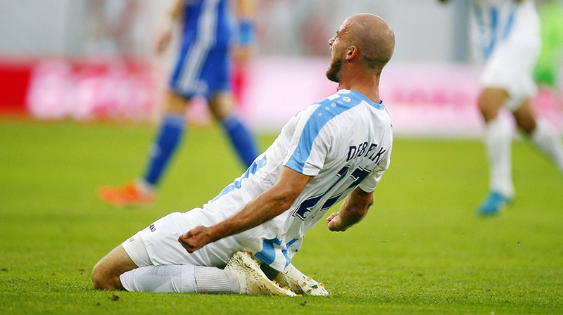 """Riga FC"" pussargs Romāns Debelko svin vārtu guvumu. Foto: Imago/Scapix"