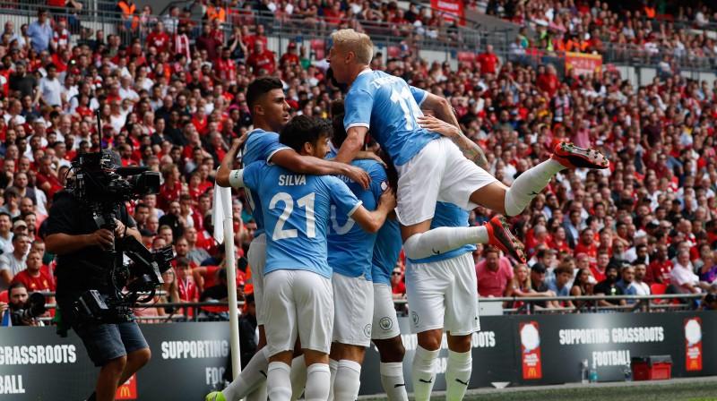 """Anglijas Superkausā Mančestras """"City"""" pendelēs apspēlēja """"Liverpool"""". Foto: AFP/Scanpix"""