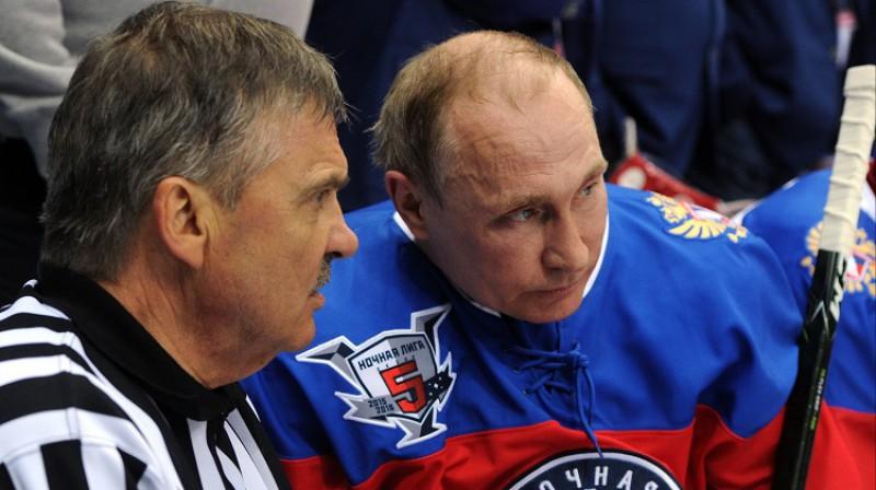 Renē Fāzels un Krievijas prezidents Vladimirs Putins 2016. gada 10. maijā Sočos. Foto: Scanpix