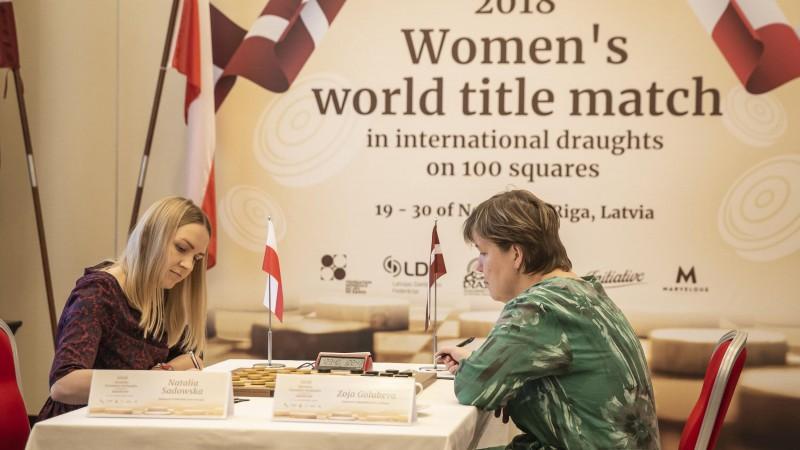Golubeva un Sadovska Rīgā noslēdz neizšķirti piekto cīņu par pasaules čempiones titulu