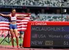 Maklaflina labo sev piederošo pasaules rekordu 400m/b un triumfē Tokijā