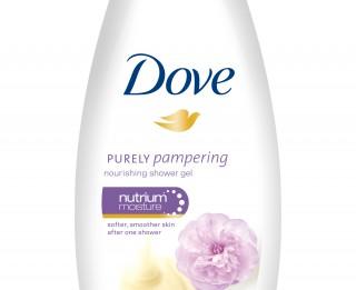 Jaunā Dove barojošā dušas želeja ar saldā krējuma un peoniju aromātu
