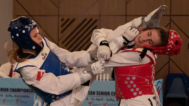 Inese Tarvida uzbrūk. Foto: Bulgarian Taekwondo Federation