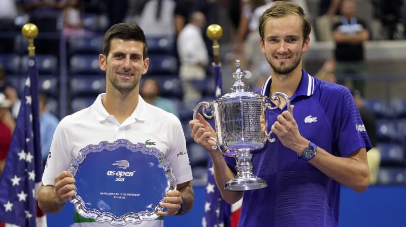 """Novaks Džokovičs un Daniils Medvedevs """"US Open"""" finālā. Foto: AP/Scanpix"""