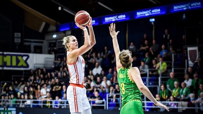 Kitija Laksa 2021. gada 21. oktobrī Šopronā. Foto: EuroLeague Women